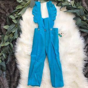 NWT Vintage Ruffle Sleeve Girls Overalls